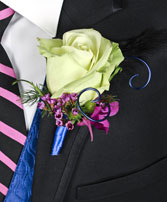 A NIGHT TO REMEMBER Prom Boutonniere in Michigan City, IN | WRIGHT'S FLOWERS AND GIFTS INC.