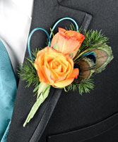 FLIRTATIOUS FEATHERS Prom Boutonniere in Fairbanks, AK | A BLOOMING ROSE FLORAL & GIFT