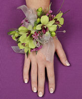 GLAMOROUS GREEN Prom Corsage in Brimfield, MA | GREEN THUMB FLORIST & GARDENS