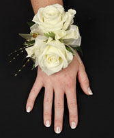WHITE ROSE GLITTER Prom Corsage in Davis, CA | STRELITZIA FLOWER CO.