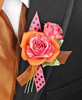 HOT PINK & ORANGE Prom Boutonniere in Bath, NY | VAN SCOTER FLORISTS