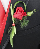 PUTTING ON THE RITZ RED Prom Boutonniere in Bath, NY | VAN SCOTER FLORISTS