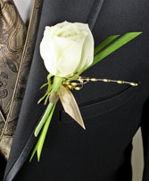 WHITE ROSE GLITTER Prom Boutonniere in Polson, MT | DAWN'S FLOWER DESIGNS
