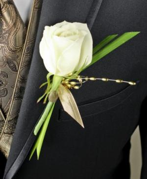 WHITE ROSE GLITTER Prom Boutonniere in Sugar Land, TX | HOUSE OF BLOOMS