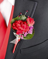 CRIMSON CARNATION Prom Boutonniere in Saint Paul, AB | THE JUNGLE