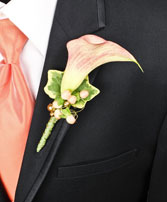 ELEGANT APRICOT CALLA Prom Boutonniere in Conroe, TX | CONROE COUNTRY FLORIST AND GIFTS