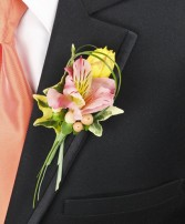 PASTEL POTPOURRI Prom Boutonniere in Manchester, NH | CRYSTAL ORCHID FLORIST
