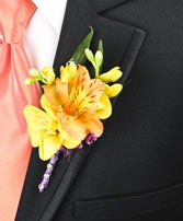 SPRINGTIME SUNSET Prom Boutonniere in Carman, MB | CARMAN FLORISTS & GIFT BOUTIQUE