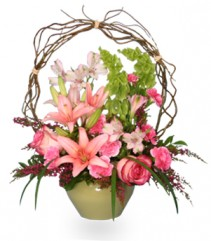 TRELLIS FLOWER GARDEN Sympathy Arrangement in Worcester, MA | GEORGE'S FLOWER SHOP