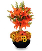 ORANGE YOU SPECIAL! Floral Topiary in Essex Junction, VT | CHANTILLY ROSE FLORIST