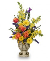UPLIFTING FLORAL URN Arrangement in Prospect, CT | MARGOT'S FLOWERS & GIFTS