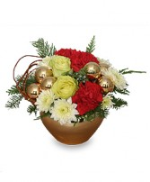 GOLDEN LUSTER Holiday Arrangement in Council Bluffs, IA | ABUNDANCE A' BLOSSOMS FLORIST