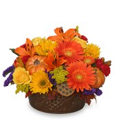 PUMPKIN GATHERING Autumn Arrangement in Prospect, CT | MARGOT'S FLOWERS & GIFTS