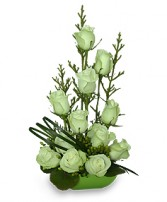 JADE GREEN ROSES Arrangement in Worcester, MA | GEORGE'S FLOWER SHOP