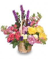 GARDEN REVIVAL Basket of Flowers in Miami, FL | THE VILLAGE FLORIST