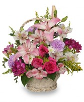 STRAIGHT From The HEART Basket Arrangement in Bath, NY | VAN SCOTER FLORISTS