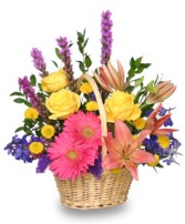 HAVE A SUNNY DAY! Flower Basket in Wilton, NH | WORKS OF HEART FLOWERS