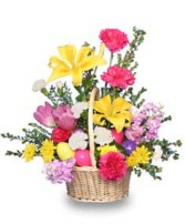 EGG-CITING EASTER BASKET of Fresh Flowers in Prospect, CT | MARGOT'S FLOWERS & GIFTS