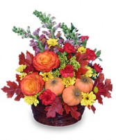 PUMPKIN PLEASURES Basket of Flowers in West Hills, CA | RAMBLING ROSE FLORIST