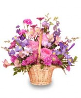 MAUVE-LOUS BOUQUET Flower Basket in Miami, FL | THE VILLAGE FLORIST