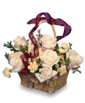ROSE GARDEN BASKET Ivory Roses Arrangement in Worthington, OH | UP-TOWNE FLOWERS & GIFT SHOPPE