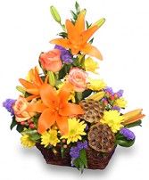 EXPRESSIONS OF FALL Flowers in a Basket in Opelika, AL | VIRGINIA'S FLOWERS & GOURMET GIFTS UNLIMITED