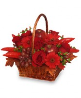 THE RICHNESS OF RED Flower Basket in Michigan City, IN | WRIGHT'S FLOWERS AND GIFTS INC.