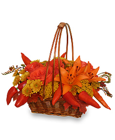 ORANGE OPULENCE Basket Bouquet in Miami, OK | B.Oliver's Florist, Gifts & Home Decor