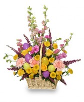 EASTER EGG HUNT Spring Flower Basket in West Hills, CA | RAMBLING ROSE FLORIST