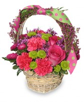 SPRING FEVER BASKET Arrangement in Lafayette, IN | CATTAILS TO ROSES BY EVE, FLORIST