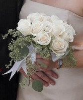 Crisp White Roses & Seeded Eucalyptus Bridal Bouquet in Oakdale, MN | CENTURY FLORAL & GIFTS