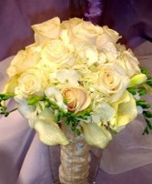 Ivory Roses, Hydrangea & Callas Bridal Wedding Bouquet in Oakdale, MN | CENTURY FLORAL & GIFTS