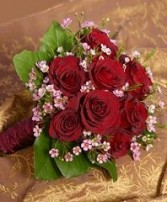 Deep Red Roses & Pink Waxflowers Bridal Wedding Bouquet in Oakdale, MN | CENTURY FLORAL & GIFTS