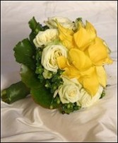 Yellow Callas & Ivory Roses Bridal Wedding Bouquet in Oakdale, MN | CENTURY FLORAL & GIFTS