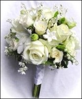 All White Floral Hand-tied Bridesmaid Bouquet in Bracebridge, ON | CR Flowers & Gifts ~ A Bracebridge Florist