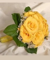 Lush Yellow Rose Nosegay Bridesmaid Bouquet in Burton, MI | BENTLEY FLORIST INC.