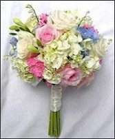 Hydrangea, Pink & White Roses Bridesmaid Bouquet in Bayville, NJ | ALWAYS SOMETHING SPECIAL