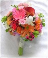 Hot Pink & Orange Hand-tied Bridesmaid Bouquet in Prospect, CT | MARGOT'S FLOWERS & GIFTS