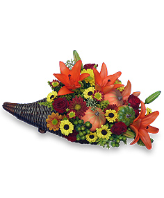 HARVEST HORN OF PLENTY Arrangement in Hialeah, FL | JACK THE FLORIST