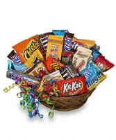 JUNK FOOD BASKET Gift Basket in San Leandro, CA | SAN LEANDRO BANCROFT FLORIST & LYNN'S FLORAL