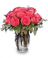 SYMPHONY IN ROSES Coral Floral Vase in Cedar City, UT | BOOMER'S BLOOMERS & THE CANDY FACTORY