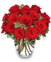 CLASSIC ROSE ROYALE  18 Red Roses Vase in Miami, FL | THE VILLAGE FLORIST