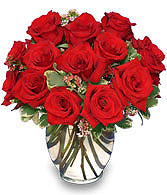 Classic Rose Royale  18 Red Roses Vase