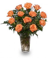 ORANGE BLOSSOM SPECIAL Vase of Orange Roses in Worthington, OH | UP-TOWNE FLOWERS & GIFT SHOPPE