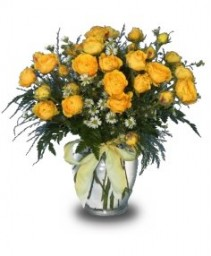 CHEERY VASE of Yellow Spray Roses