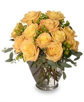 COOL YELLOW SUNRISE Yellow Roses Bouquet in Devils Lake, ND | KRANTZ'S FLORAL & GARDEN CENTER