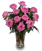SWEET ATHENA'S ROSES Pink Roses Vase in Cedar City, UT | BOOMER'S BLOOMERS & THE CANDY FACTORY
