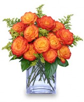 FIERY LOVE Vase of 'Circus' Roses in Burkburnett, TX | BOOMTOWN FLORAL SCENTER