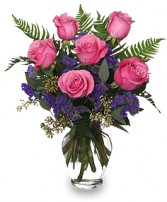 HALF DOZEN PINK ROSES Vase Arrangement in Catonsville, MD | BLUE IRIS FLOWERS