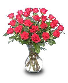 2 DOZ. RED ROSES Vase of Flowers
